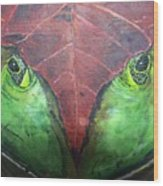 Frog With Leaf Wood Print