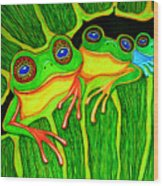 Froggie Trio Wood Print