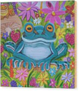 Frogs And Flowers Wood Print