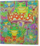Frogs And Mushrooms Wood Print