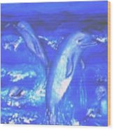 Frolicking Dolphins Wood Print