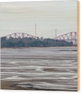 From Cramond To Forth Bridge, Forth Road Bridge, And Forth Crossing Wood Print