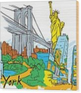 From Old To New York Wood Print