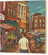 From Schwartz's To Warshaws To The  Main Steakhouse Montreal's Famous Landmarks By Carole Spandau  Wood Print by Carole Spandau