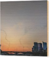From The Congress Avenue Bridge, Silhouetted Crowds And Onlookers Watch Mexican Free-tailed Bats Stream Into The Sunset For A Night Of Consuming Insects Wood Print