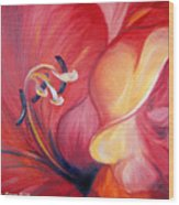 From The Heart Of A Flower Red Wood Print