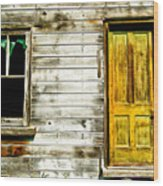 Front Door To An Old Abandoned House. Wood Print