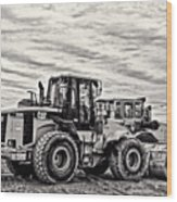 Front End Loader Black And White Wood Print