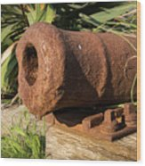 Front End Of An Old Rusty Cannon Lying On The Floor Wood Print
