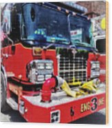 Front Of Fire Truck With Hose Wood Print