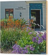 Flowers In Front Of Napier Common Room At Pilgrim Place In Claremont-california Wood Print