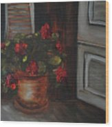 Front Porch Flowers Wood Print