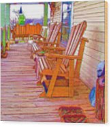 Front Porch On An Old Country House  1 Wood Print