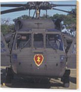 Front View Of An Army Hh-60 Pave Hawk Wood Print by Michael Wood