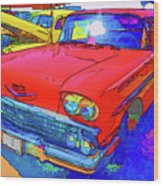 Front View Of Red Retro Car  Wood Print