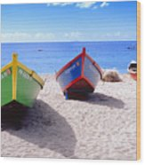 Frontal View Of Fishing Boats On Crash Boat Beach Puerto Rico Wood Print