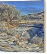 Frost Along The Creek Wood Print