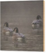 Frosted Geese Wood Print