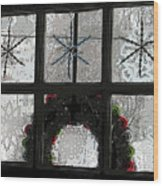 Frosted Windowpanes Wood Print
