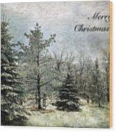 Frosty Christmas Card Wood Print
