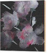 Frosty Flowers Wood Print