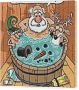Frosty In A Hot Tub Wood Print