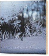 Frosty Morning Window Wood Print