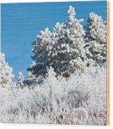Frosty Mountainside Wood Print