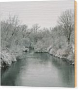 Frosty River Wood Print