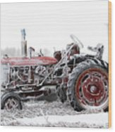 Frosty Tractor Wood Print