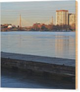 Frozen Dock On The Charles River Wood Print