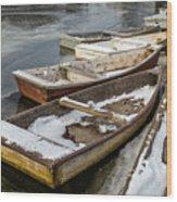Frozen Boats Wood Print