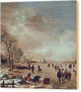 Frozen Canal Scene  Wood Print by Aert van der Neer