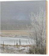 Frozen Fog Ranch Scene Wood Print