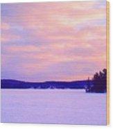 Frozen Lake Sunset 2  Wood Print