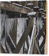 Frozen Leaks Wood Print