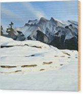 Frozen Mountain Lakeshore Wood Print