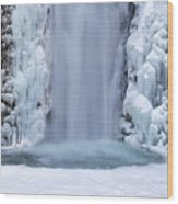 Frozen Multnomah Falls Closeup Wood Print