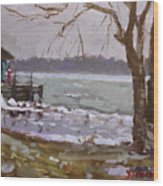 Frozen Niagara River Wood Print