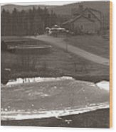 Frozen Pond Camp Ground Panorama Wood Print