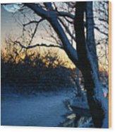 Frozen River Wood Print