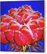 Frozen Roses Wood Print