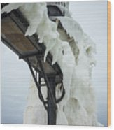 Frozen St. Joseph Outer Lighthouse Wood Print
