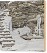 Frozen Stairs Wood Print