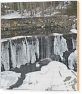 Frozen Waterfall Wood Print