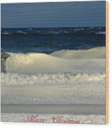 Frozen Waves Christmas Card Wood Print