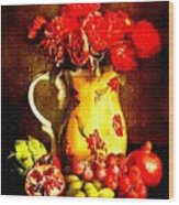 Fruit And Flower Still-life H B Wood Print