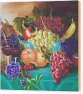 Fruit And Wine On Green Cloth Wood Print