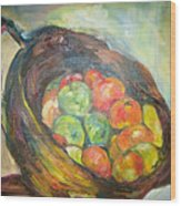 Fruit Basket And Wine Wood Print