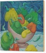 Fruit Bowl with Blue Background 2006 Wood Print